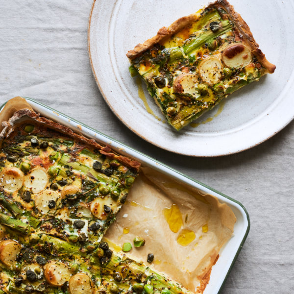 Asparagus, new potato and pea tart