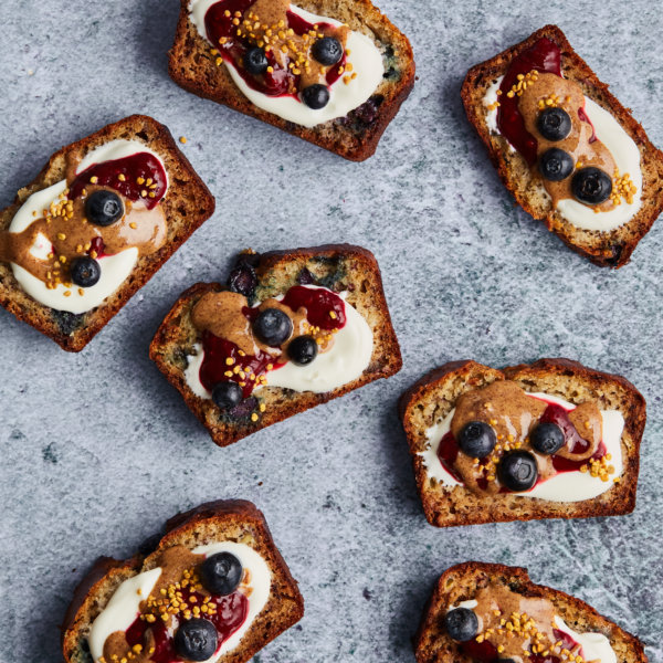 Blueberry banana bread with yogurt and berries