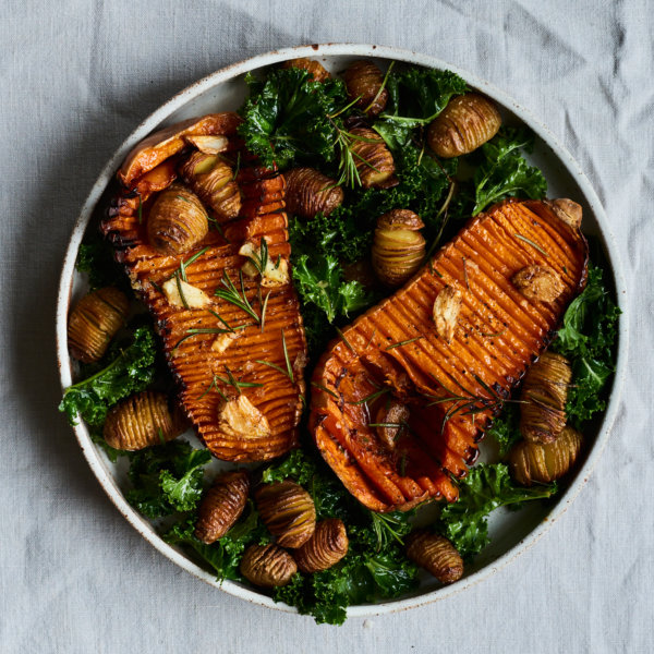 Hasselback Potatoes and Squash with a Kale and Lemon Salad