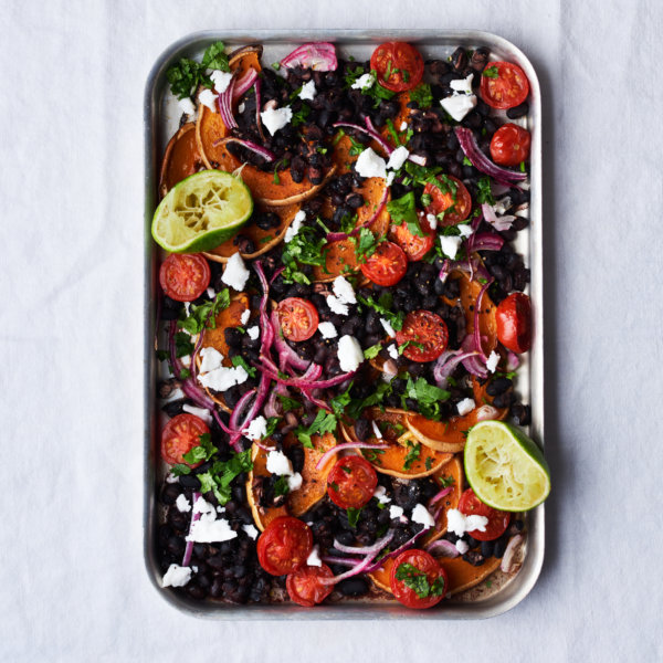 Squash, Black Bean & Tomato Tray Bake