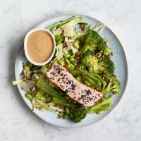 Five spice broccoli with salmon green
