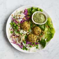 Super green salad with garden pea falafel